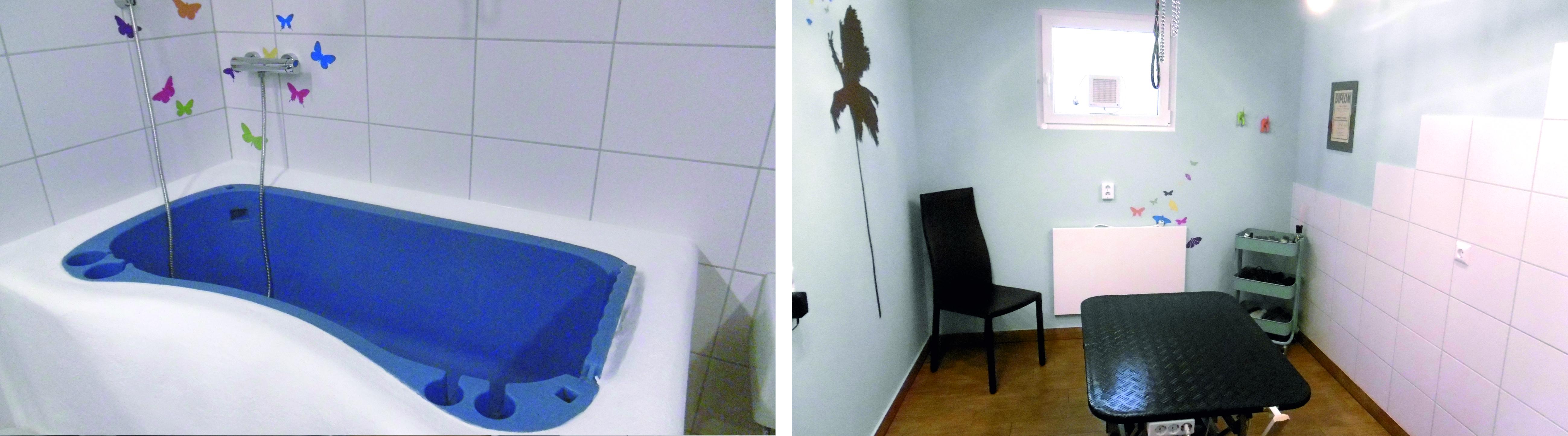 Badewanne, Scherbereich und Föhnbox